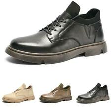 Men's Retro Leisure Leather Shoes Business Work Oxfords Lace up Flats Outdoor D