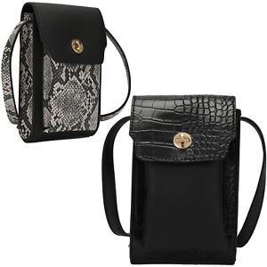Croc/Snake Mobile Phone Bag Womens Cross Body Animal Print Mini Evening Handbag