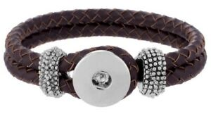 Genuine Leather Brown 9 inch 18mm to 20mm Snap Charm Bracelet For Ginger Snaps
