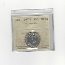 **1902H**, ICCS Graded Canadian, 25 Cent, **AU-55**