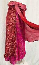 Hippie Boho Recycled Silk Wrap Skirt Hot Pink 2 Layers One Size