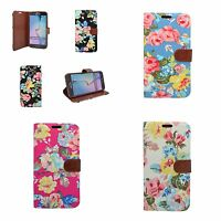 CASE FOR SAMSUNG GALAXY S6 CLASSIC DENIM JEANS WALLET MULTI FLOWER COVER