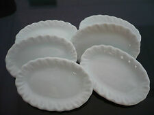 Set of 6 White Oval Plate/Tray Dollhouse Miniatures Ceramic Kitchenware