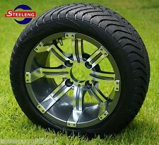 """GOLF CART 12"""" GUNMETAL TEMPEST WHEELS and 215/40-12 DOT LOW PROFILE TIRES (4)"""