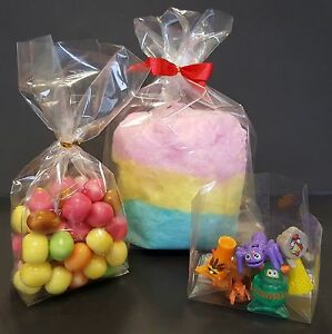 Clear Gusset Cello Display Bags for Wedding Gifts & Party Sweets Food Twist Ties