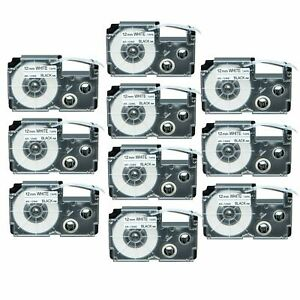10PK Compatible Casio XR-12WE Black on White Label Tape for KLHD1 12mm 8M