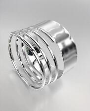 CHIC & STYLISH Artisanal Silver Ribbed Metal Coiled Bangle Bracelet