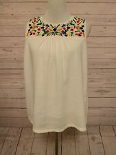 See U Soon White Embroidered Bib Top Stitch Fix Size Medium Perfect For Summer