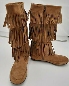 Womens Suede Leather Tan Moccasin Fringed Boots Size 8 Indigo Model Fast Ship