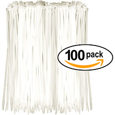 """Nylon Cable Zip Ties (HUGE 100 PACK) Heavy Duty White Plastic Wire Tie 8"""" Length"""