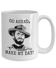 Cowboy Coffee Mug, Go Ahead Make My Day, Fun Novelty 15oz White Ceramic Tea Cup