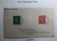 1948 York England Postcard Cover Traveling Post Office Tpo To Manchester