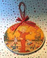 "Mary Engelbreit ""I Love Christmas"" Boy In Pj'S Wooden Tree Ornament"