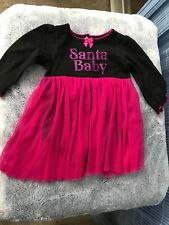 "Baby Glam girl 3-6mo Holiday onepiece black/berry tulle skirt ""Santa Baby"""