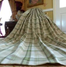 "HUGE Balmoral Green COUNTRY Check Eyelet Lined Curtains & Tie-backs 90"" x 90""D"