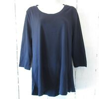 New Isaac Mizrahi Live Essentials M Medium Blue 3/4 Sleeve T Shirt QVC