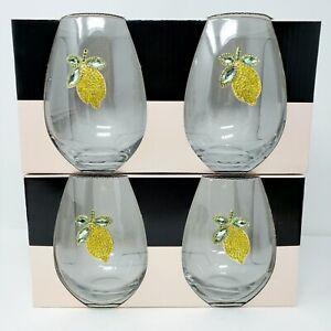 Rachel Zoe Set of 4 Stemless Glasses Jeweled Lemons Rhinestone Yellow Green New
