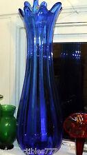 """PILGRIM GLASS,Vintage 23"""" 9lb Deep Sapphire,BLUE Stretch  Floor VASE make offer!"""