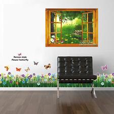 Combo 3d con vista al jardín y ventana Mariposa Flores pegatinas de pared arte calcomanías Cuarto De Niños