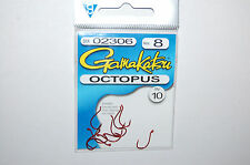 gamakatsu octopus hook size 8 10 per pack # 02306 red trout hooks