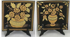 Damascene Gold Flower Design Square Decorative Mini Plate by Midas Toledo Spain