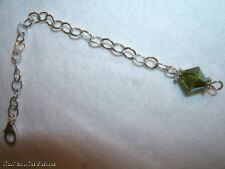"Silver Necklace Extender Extenders 2 3/4"" Green Crystal"