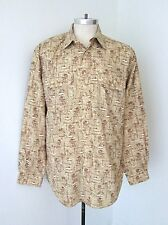VGC LL Bean Brown Nylon Poly Tropical Fishing Beach Shirt Roll Up Tab Sleeves L