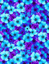 Fabric Flowers Night Blooms on Aqua Cotton Timeless Treasures 1/4 yard 7810