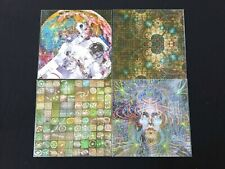 Lot of 4 Space BLOTTER ART perforated sheet paper psychedelic art Crop circles