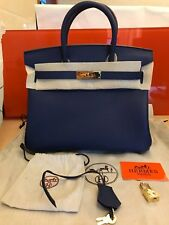 Authentic Hermes Electric Blue 30 Togo Leather Gold Hardware