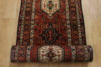 Excellent Palace Sized Gharajeh Hand-Knotted Geometric Runner Rug 3'x38' Carpet