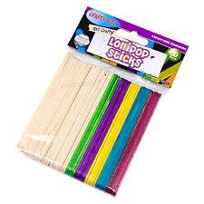 Pack of 50 Childrens Lollipop Sticks Plain & Coloured Kids Art Craft Activities