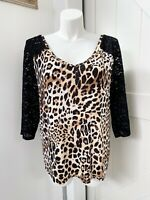 Lane Bryant Leopard Print V Neck 3/4 Sleeve Lace Arm Soft Tee Plus Size 18/20