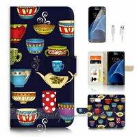 ( For Samsung S7 ) Wallet Case Cover P2289 Tea Cup