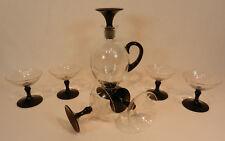 7 tlg. Likörset 6 Gläser Karaffe schwarz Blumenschliff Glas mundgelasen Abriss