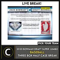 2020 BOWMAN DRAFT SUPER JUMBO BASEBALL 3 BOX BREAK #A1079 - PICK YOUR TEAM
