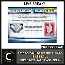 2020 BOWMAN DRAFT Super Jumbo béisbol 3 Caja romper #A1049 - Elige Tu Equipo