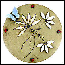 Pale Blue Butterfly Clock with Daisies + Ladybirds by Maggie Betley Zoo Ceramics