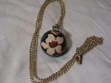 ...Vintage Gold Tone,Cloisonne Enamel Flower Chime Ball Pendant Necklace...