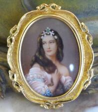 VINTAGE 18KT GOLD HAND PAINTED PORTRAIT LADIES BROOCH AND PENDANT