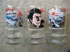 3) Collectible Star Trek Drinking Glasses -1984. Taco Bell Promotion.