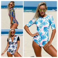 Women Swimwear Sexy Red Blue Leaves Zip Front Half Sleeve One Piece Swimsuit