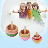 Novelty 3pcs Wooden Colorful Spinning Top Kids Wood Children's Party Toy AL