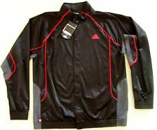 rare Adidas mens $60 Tenacity Basketball button front Game Jacket Black-Red XL