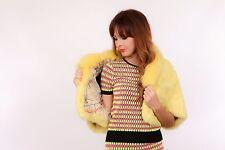 Impresionante cosecha de lujo diseñador Amarillo Limón de piel de visón abrigo Capucha Bolero