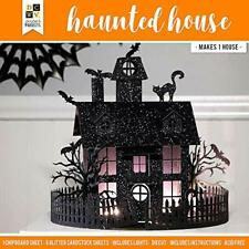 DCWV Halloween Black Glitter Haunted House Village Party Decor Fall Paper Kit