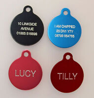 Dog Cat Pet Tag ID Tags Personalised Engraved 25mm Anodised Design Pet Collar