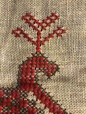 New listing Antique sampler, crosstitch, Peacocks, red & gray on homespun, Charming