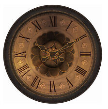 30-In Huge Classic Round Wall Clock Oversized, Large Face Modern Art, Brown -NEW