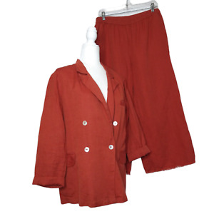 Free People Women's Winnie Suit Size Medium Linen Blend Rust Red Raw Hem Slouchy